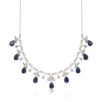 "20.00 ct. t.w. Sapphire and .28 ct. t.w. Diamond Necklace in Sterling Silver. 18"", , default"