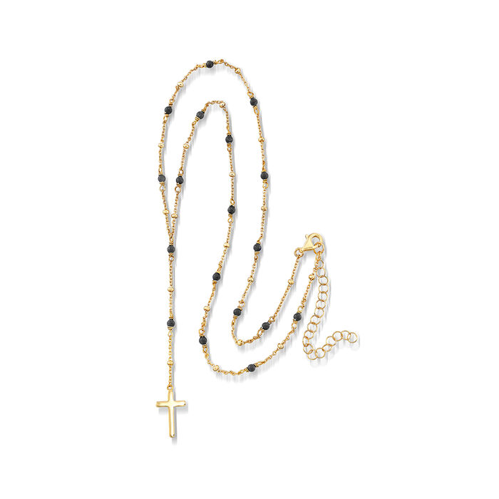 2.3mm Black Onyx Rosary Beads with Cross Necklace in 18kt Gold Over Sterling