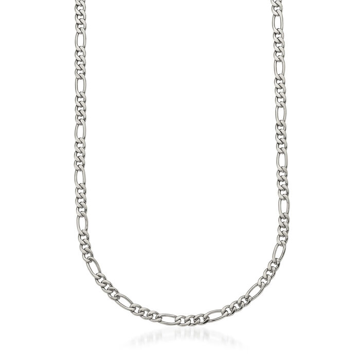 "Men's Stainless Steel Polished Figaro Chain Necklace. 24"", , default"