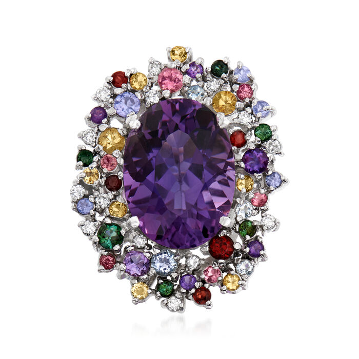 C. 1990 Vintage 14.33 ct. t.w. Multi-Gemstone and .28 ct. t.w. Diamond Cocktail Ring in Platinum. Size 6.5