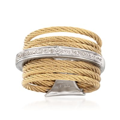 "ALOR ""Classique"" Yellow-Hued Stainless Steel Cable Ring with Diamond Accents and 18kt White Gold, , default"
