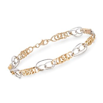 "14kt Two-Tone Gold Multi-Link Bracelet. 7"", , default"