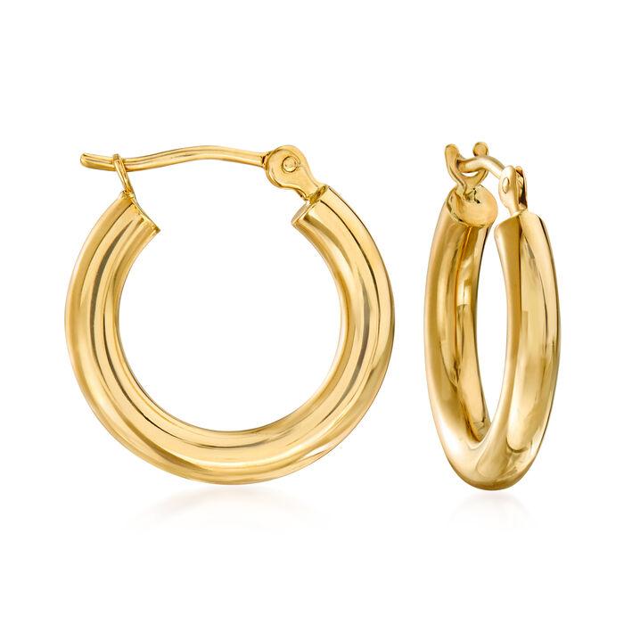 """2.5mm 14kt Yellow Gold Hoop Earrings. 1/2"""""""