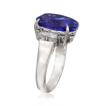 C. 1980 Vintage 7.93 Carat Tanzanite and .40 ct. t.w. Diamond Ring in Platinum. Size 6.25, , default