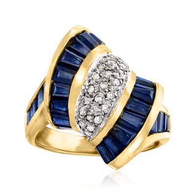 C. 1980 Vintage 3.50 ct. t.w. Sapphire and .20 ct. t.w. Diamond Ring in 14kt Yellow Gold