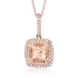 "1.40 Carat Morganite and .30 ct. t.w. Diamond Pendant Necklace in 14kt Rose Gold. 18"", , default"
