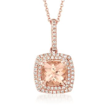 """1.40 Carat Morganite and .30 ct. t.w. Diamond Pendant Necklace in 14kt Rose Gold. 18"""", , default"""