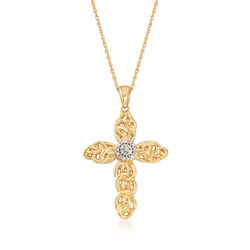 .10 ct. t.w. Diamond Cross Pendant Necklace in 18kt Gold Over Sterling, , default
