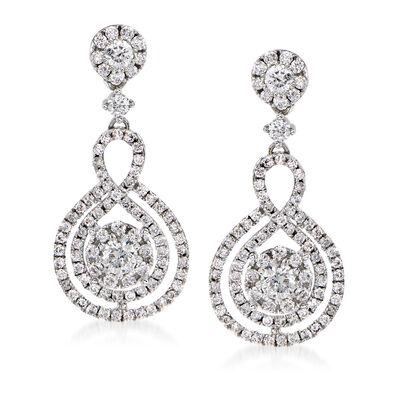 1.25 ct. t.w. Diamond Cluster Drop Earrings in 14kt White Gold