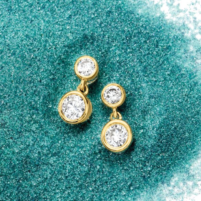 .75 ct. t.w. Bezel-Set Diamond Drop Earrings in 14kt Yellow Gold