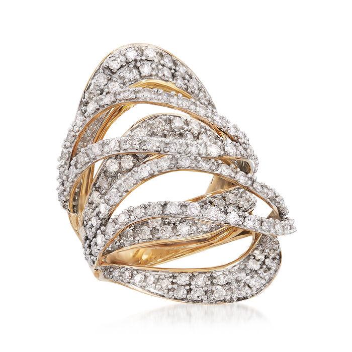 2.75 ct. t.w. Diamond Crisscross Ring in 18kt Yellow Gold