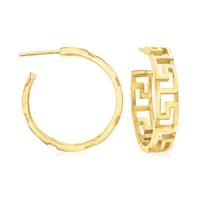 Italian 18kt Gold Over Sterling Greek Key Hoop Earrings