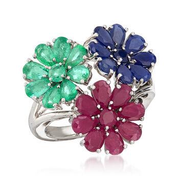 8.10 ct. t.w. Multi-Gemstone Flower Ring in Sterling Silver