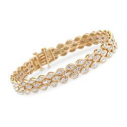 1.00 ct. t.w. Diamond Three-Row Marquise Bracelet in 14kt Gold Over Sterling, , default