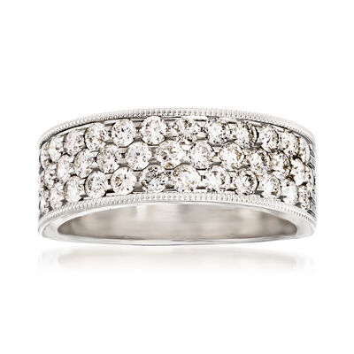1.25 ct. t.w. Diamond Triple-Row Wedding Ring in 14kt White Gold, , default