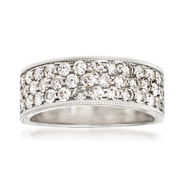 1.25 ct. t.w. Diamond Triple-Row Wedding Ring in 14kt White Gold