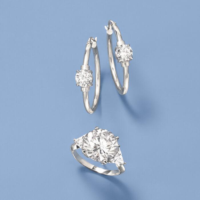 1.60 ct. t.w. CZ Station Hoop Earrings in Sterling Silver