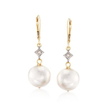 10.5-11mm Cultured Pearl Drop Earrings With Diamond Accents in 14kt Yellow Gold, , default