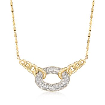 """1.07 ct. t.w. Pave Diamond Link Centerpiece Necklace in 14kt Yellow Gold. 18"""", , default"""
