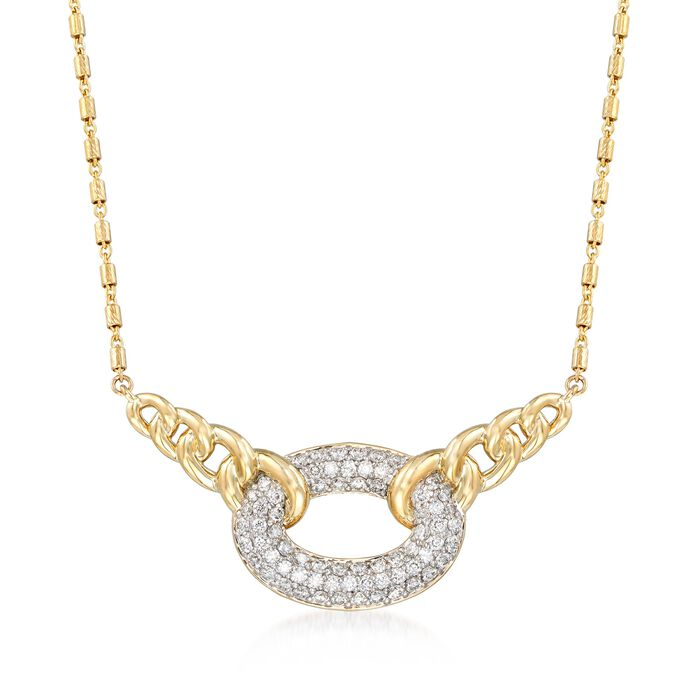 "1.07 ct. t.w. Pave Diamond Link Centerpiece Necklace in 14kt Yellow Gold. 18"", , default"