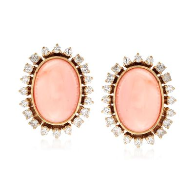 C. 1960 Vintage Pink Coral and 2.00 ct. t.w. Diamond Earrings in 18kt Yellow Gold, , default