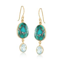 Turquoise and 8.00 ct. t.w. Blue Topaz Drop Earrings in 18kt Gold Over Sterling Silver , , default