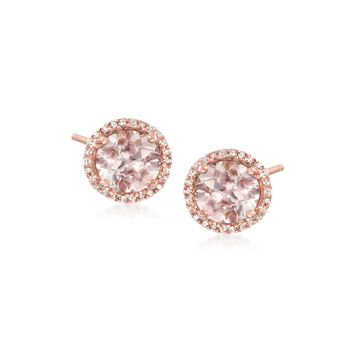 2.40 ct. t.w. Morganite and .15 ct. t.w. Diamond Stud Earrings in 14kt Rose Gold Over Sterling, , default