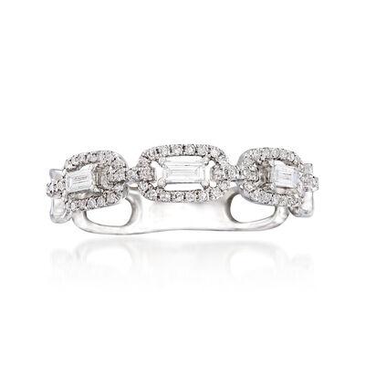 .31 ct. t.w. Diamond Interlocking Chain Ring in 18kt White Gold, , default