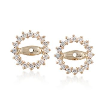 .55 ct. t.w. CZ Earring Jackets in 14kt Yellow Gold, , default