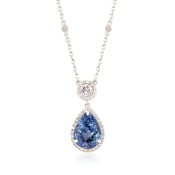 "4.10 Carat Tanzanite and .51 ct. t.w. Diamond Necklace in 18kt White Gold. 18"", , default"