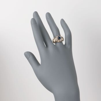 C. 1980 Vintage .95 Carat Sapphire and .60 ct. t.w. Diamond Ring in 14kt Yellow Gold. Size 6.5, , default