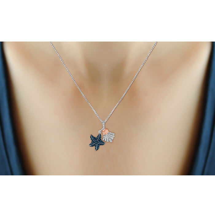 .32 ct. t.w. Blue and White Diamond Sea Life Pendant Necklace in Two-Tone Sterling
