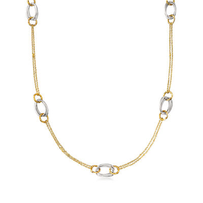 Italian 14kt Two-Tone Gold Oval and Round-Link Necklace, , default