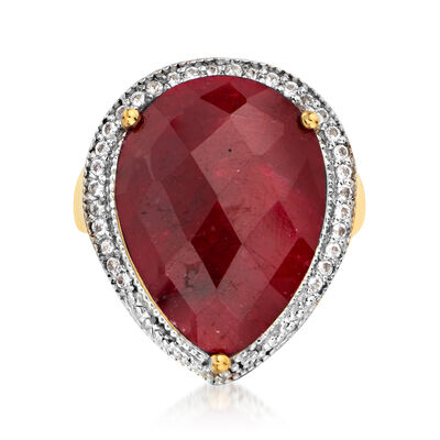 16.00 Carat Ruby and .40 ct. t.w. White Topaz Pear-Shaped Ring in 18kt Gold Over Sterling