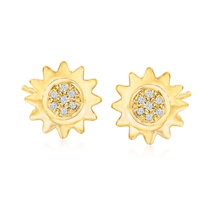 Diamond-Accented Sun Stud Earrings in 18kt Gold Over Sterling