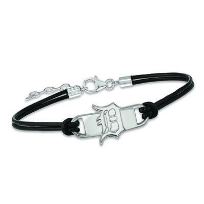 "Sterling Silver MLB Detroit Tigers Small Center Leather Bracelet. 7"", , default"