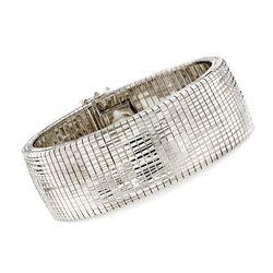 "Italian Sterling Silver Diamond-Cut and Polished Omega Bracelet. 7.5"", , default"