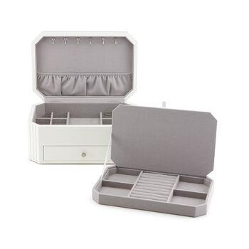 "Reed & Barton ""Lea"" White Wooden Jewelry Box"