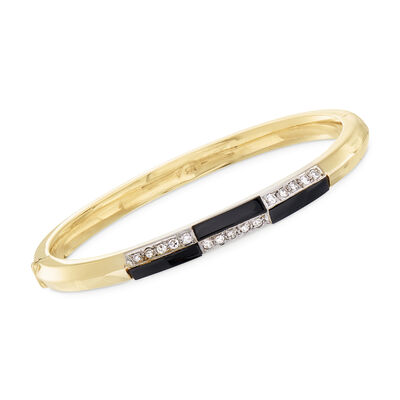 C. 1980 Vintage Black Onyx and .40 ct. t.w. Diamond Checkerboard Bangle Bracelet in 14kt Yellow Gold, , default