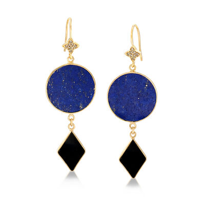 Multi-Gem and .15 ct. t.w. Champagne Diamond Drop Earrings in 18kt Gold Over Sterling, , default