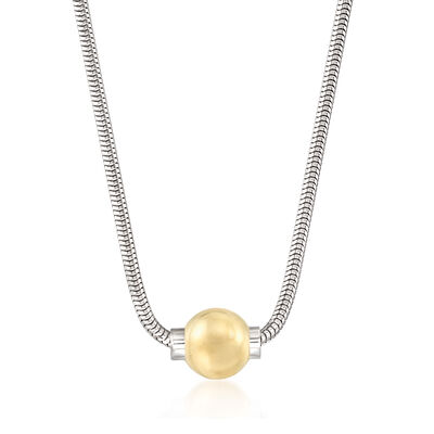Cape Cod Jewelry 14kt Yellow Gold Bead Necklace with Sterling Silver, , default