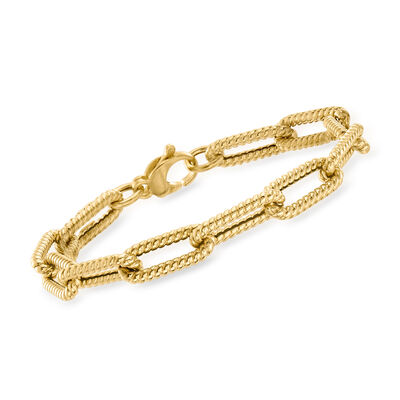 Italian 14kt Yellow Gold Twisted Paper Clip Link Bracelet