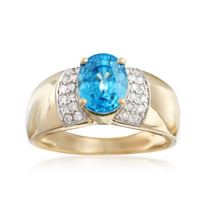 3.40 Carat Blue Zircon and .24 ct. t.w. Diamond Ring in 14kt Yellow Gold