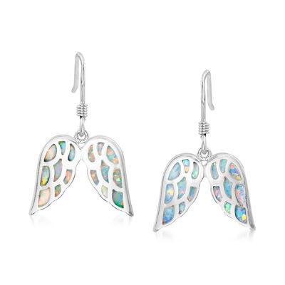 Synthetic Opal Angel Wing Drop Earrings in Sterling Silver, , default