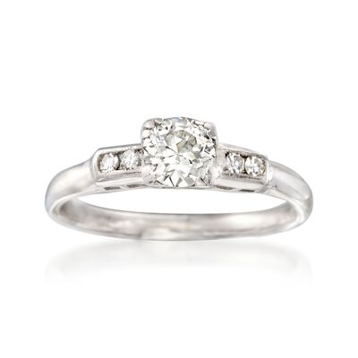 C. 1950 Vintage .56 ct. t.w. Diamond Engagement Ring in 14kt White Gold, , default