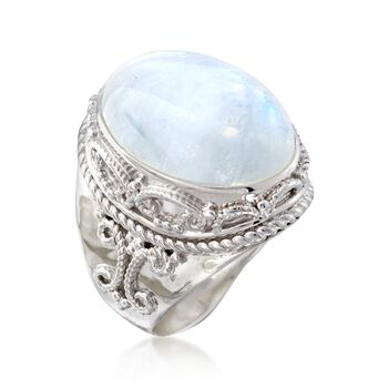 White Moonstone Ring in Sterling Silver