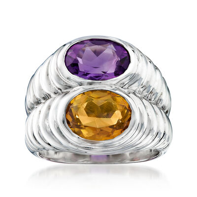 C. 1990 Vintage Bulgari 1.70 Carat Amethyst and 1.55 Carat Citrine Ring in 18kt White Gold