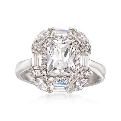 3.30 ct. t.w. Multi-Shape CZ Ring in Sterling Silver, , default