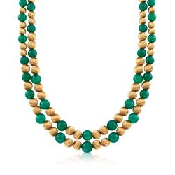"C. 1980 Vintage 6-8mm Green Chalcedony Bead Necklace in 14kt Yellow Gold. 38""  , , default"