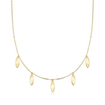 "Italian 14kt Yellow Gold Marquise-Shape Station Necklace. 16"", , default"